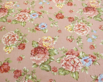 Rose Pink Vintage Flowers Printed 100% Cotton Canvas Fabric