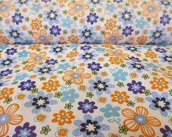 White,Orange & Blue Hippy Flowers, Floral Printed Polycotton Fabric. Price Per Metre.