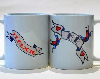 MR & MRS pair wedding mugs swallow banner customised with date Tattoo Mug Lady