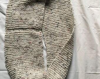 Handmade beige knit infinity scarf