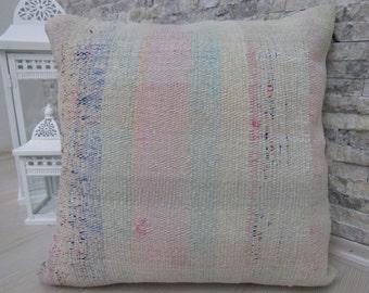 Kilim Lumbar Pillow 18 x 18 Turkish Kilim Pillow Cover Bohemian Pillow Home Decor Pillows Rustic Pillow Ethnic Pillow Decorative Pillow