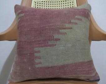 Kilim Pillow 16 x 16 Flat Woven Vintage Kilim Faded Color Turkish Pillow Kilim Rug Pillow Tribal Pillow Decorative Sofa Pillow
