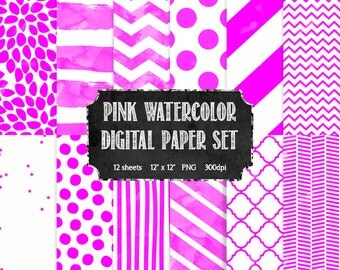 Pink and White Watercolor Digital Paper Set - Modern Digital Paper - Scrapbooking Paper - Watercolor Digital Paper - INSTANT DOWNLOAD