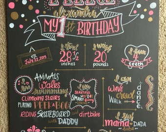 First Birthday Chalkboard Pink and Gold Girl
