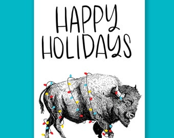 Happy Holidays Bison Holiday Card