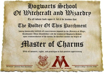 Personalized Diploma Print on Canvas, 4 to choose from, Master of Magic, Alchemy, Charms, Potion Master