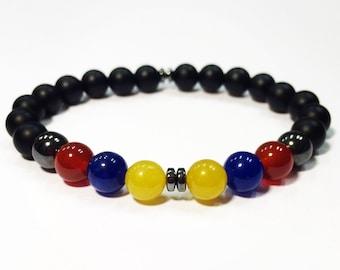 Onyx bracelet,Colombian bracelet,Venezuelan bracelet,stone bracelet,Colombian flag bracelet,Venezuelan flag bracelet,Ecuadorian bracelet