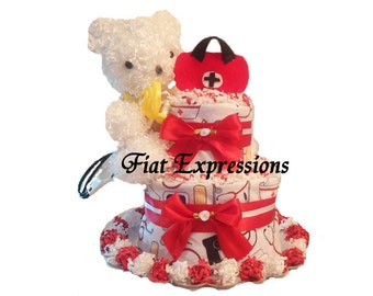 Doctor Bear 2 Tier Diaper Cake