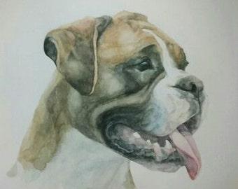 The Boxer dog original watercolor painting