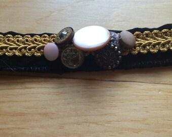 Gold and Button Handmade Headband
