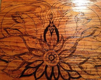 Floral wood burning