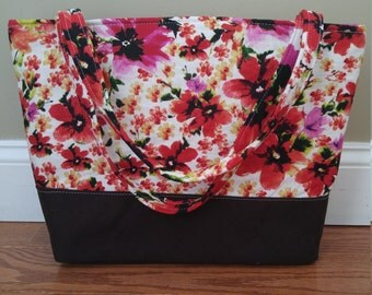 Flower printed linen diaper bag with  durable canvas bottom
