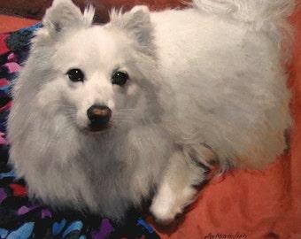 "American Eskimo Dog Print, Eskie Dog Art, Archival Giclee Print, 10""x10"""