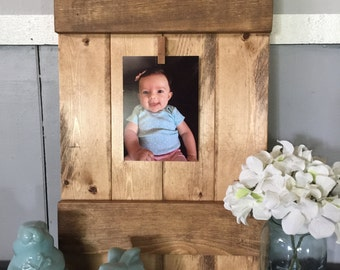 Rustic Wood Picture Frame. Farmhouse Decor. Handmade. Wedding Gift. House Warming. Home Decor. Gift