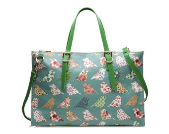 Ladies Work bag - Oilcloth Laptop bag- Green bird bag- Ladies shoulder tote bag- Women computer bag- Waterproof satchel- Vegan faux leather