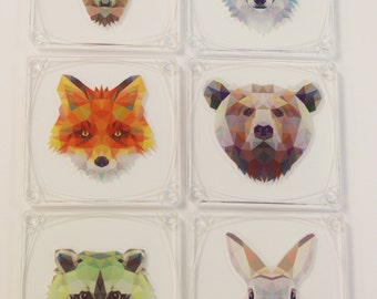 Geometric Wild Animal Faces Printed Set of 6 Decorative Acrylic Table Coasters with Holder Included