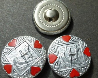 6 Vintage 2.5cm Metal Buttons - Boy in Canoe with Hearts !