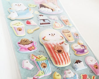 Scented Cute Kawaii Puffy Bear Latte Stickers