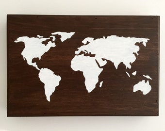 World map, world map wood, world map art, world map vintage, world globe, painted globe, travel map, wooden signs, wood sign, adoption gifts