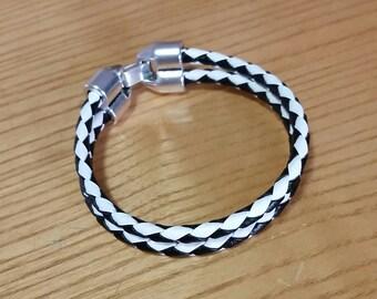 Black and White Braided Leather Bracelet