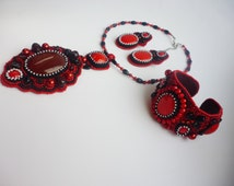 Black Red Beaded Embroidery Necklace Earrings Bracelet Jewelry Set Agate Coral Pendant, Coral Earrings Coral Bracelet Natural Stone Beadwork
