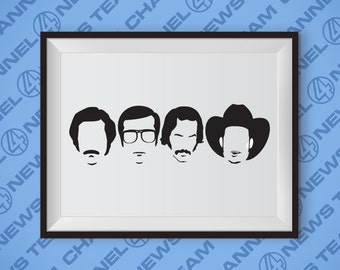 Channel 4 News Team Anchorman Poster - Will Farrell, Steve Carrell, David Koechner, Paul Rudd, Ron Burgundy, Funny Art, Movies, Comedy