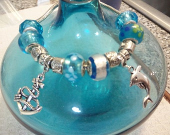 SIlver Snake Bracelet Pandora European Style with Murano Beads & Charms