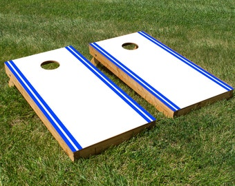 Classic White and Blue Stripe Cornhole Board Set with Bean Bags