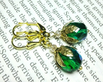 Earrings petrol green