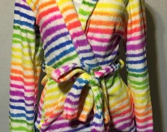 Rainbow Stripe Robe & Slipper Set