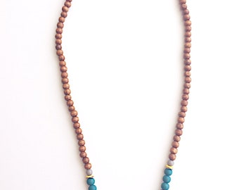 Mix Wood and Rubber Beaded Necklace