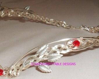 Arwen Celtic ELven Silver Leaves Circlet Crown adjustable wedding handfasting larp ren sca