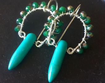 Green Howlite Sterling Earrings- Handmade, semiprecious,holidays,