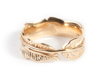 FEATHER RING gold plated