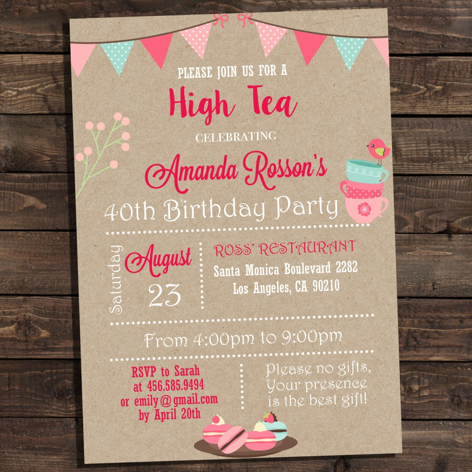 Vintage shabby chic high tea party invitations printable zoom monicamarmolfo Image collections