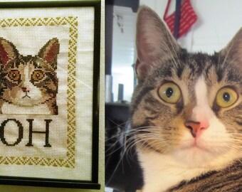 Custom kitty cross stitch portrait
