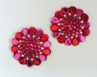 Flower Burlesque Pasties ,Rave Sunflower Pasties, Nipple cover Rave wear,burlesque outfit