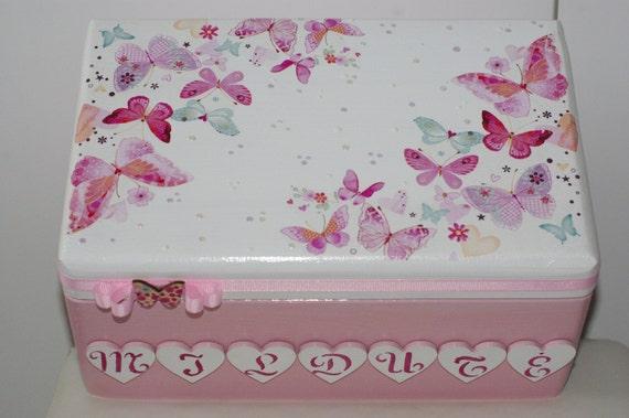 Baby Gift Memory Box : Decoupaged baby gift memory box personalized keepsake