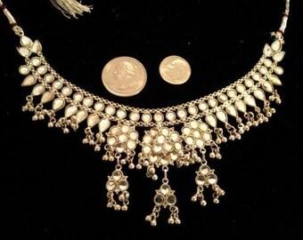Sterling Silver Necklace Handmade India Pakistan Traditional Kundan Choker 27gtw