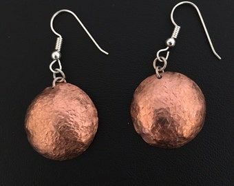 Hammered Copper Dome Earrings