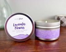 LAVENDER FLOWERS Soy Candle in 4oz Tin, Wood Wick Candle, Spring Candle, Lavender Candle, Scented Soy Candle, Tin Candle, Scented Candle