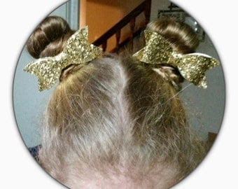 Hair / bun clips gold sparkle