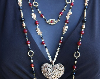 Red Black and Gold Three Strand Heart Necklace
