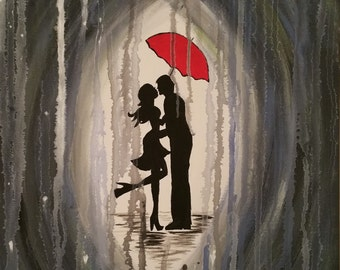 16x20 Kissing in the Rain Abstract Canvas