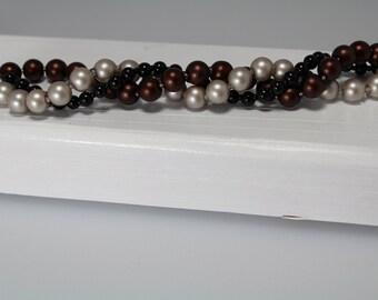 Multi Strand Metallic Pearl Bracelet