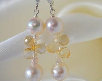 Baroque Akoya pearl citrine Briolett Akoya pearls, citrine earrings earrings