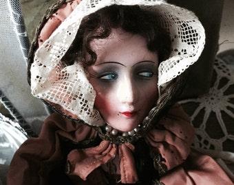 Boudoir shabby doll antique saque Clothespin bag