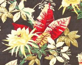 "Vintage 1940's/50's Barkcloth Curtain Fabric / 28"" x 22"" /Floral Print / Retro Collectable Rare"