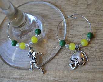 Football Wine Charms, Green Bay