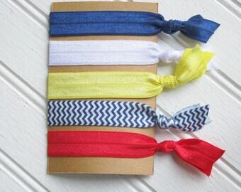 Primary Colors -- Elastic Hair Ties -- Set of 5 -- Pony Tail Holders Creaseless Hair Ties -- Girls Tweens Teens Women --